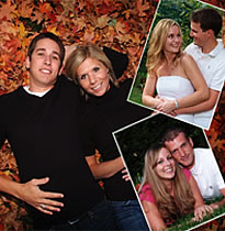 Couple on ground covered with leaves in fall